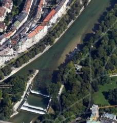 Normalzustand<br>Sandbänke, Kiesbette - gemeinhin führt die Isar in München nicht übermäßig viel Wasser