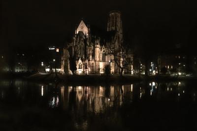 Der Feuersee und die Johanneskirche.<br>Bei Nacht irgendwie schöner als am Tag.