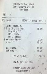 Billig ist anders<br>Ja, man kann für ein simples Menü bei Burger King schonmal 16 Franken bezahlen...